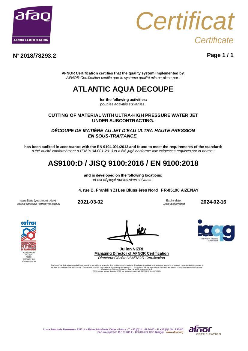 Certification Atlantic Aqua Découpe